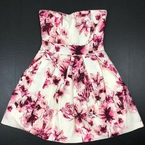 Charlotte Russe Floral Strapless Dress Small